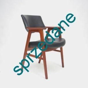 Modernistyczne krzesło gabinetowe z lat 60-tych. Jesion bejcowany. Produkt duński. Niezwykle wygodny.