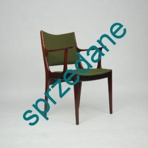 Modernistyczne, gabinetowe krzesło z masywu palisandru.Projekt JOHANNESa ANDERSENa dla ULDUM MOBELFABRIK. Piękne profilowanie. Produkt lat 50/70