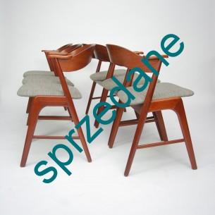Sześć wyjątkowych krzeseł z masywu tekowego. Projekt KAI KRISTIANSEN. Komfort i harmonia. Produkt duński lat 60-tych