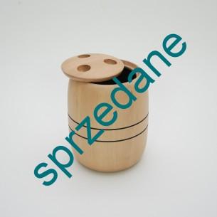 Ciężki, masywny pojemnik. Wytwórnia NISSEN. Drewno bukowe. Środek czarny. Bardzo ciekawa forma. Produkt duński.