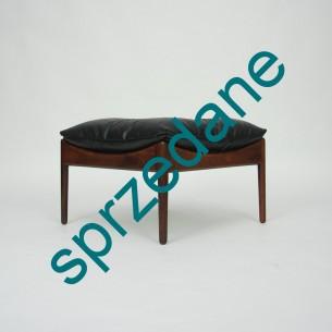 Wytworne siedzisko z drewna palisandru. Design KRISTIAN SOLMER VEDEL. Poduszka z naturalnej skóry. Produkt duński lat 60-tych.