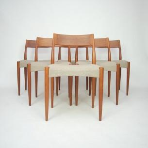 Set sześciu tekowych krzeseł autorstwa A. HOVMAND OLSENa dla Mogens Kold. Piękna modernistyczna forma lat 60-tych. Płynna linia i efektowne gięcia. Produkt duński.