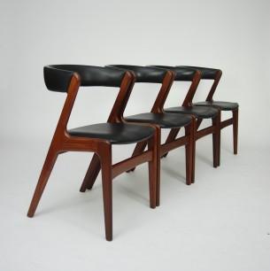 Set czterech krzeseł z masywu tekowego. Projekt KAI KRISTIANSEN. Piękna, modernistyczna forma lat 60-tych. Drewno olejowane. Oryginalny produkt duński.