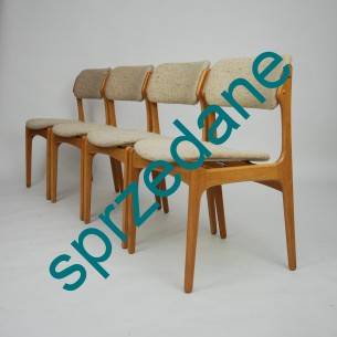 Set sześciu krzeseł. Model #49 projektu ERICKA BUCKA dla O.D. Møbler. Produkt duński lat 50/60