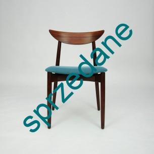 Wytworne krzesło palisandrowe. Projekt Harry Østergaard dla Randers. Drewno olejowane. Piękna wyrafinowana forma lat 60. Oryginalny produkt duński.