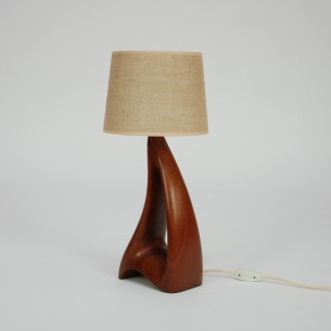 Unikatowa, duńska lampka. Lite drewno tekowe. Kultowa, organiczna forma. Abażur jutowy. Produkt lat 60-tych.