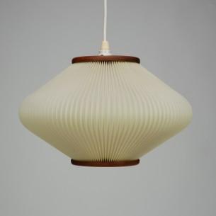 Duńska, ażurowa lampa w stylu produktów Le Klint. Subtelna, ale efektowna forma. Tekowe wykończenia. Oryginał z lat 60-tych.