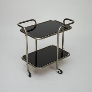 Mobilny barek w duchu bauhausu. Mebel z giętych rurek na podobieństwo projektów Marcela Breuera. Szklane, zdejmowane blaty. Unikatowy produkt lat 40-60.