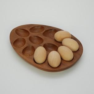 Tekowa misa na wielkanocny stół i nie tylko. Masyw tekowy. Drewniane jajka w cenie (drewno bukowe).