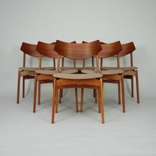 Piękne krzesła z masywu tekowego. Wytwórnia Funder-Schmidt & Madsen. Na uwagę zasługuje efektowne, profilowane oparcie. Bardzo solidna i stabilna konstrukcja. Modernistyczna forma lat 60-tych. Produkt duński.