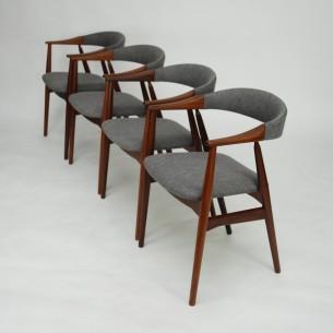 Krzesła z masywu tekowego. Piękna, modernistyczna forma lat 60-tych. Manufaktura Farstrup. Drewno olejowane. Produkt duński.
