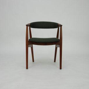 Krzesło z masywu afromozji (tek afrykański). Piękna, modernistyczna forma lat 60-tych. Manufaktura Farstrup. Drewno olejowane. Produkt duński.