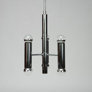 Piękna metalowa lampa z ery bauhausu. Na sześć żarówek.