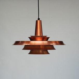 Efektowna, duńska lampa w kolorze miedzi. Aluminium. Projekt lat 60/70-tych.