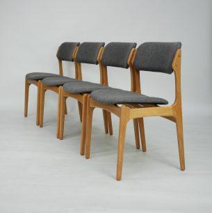 Set czterech krzeseł. Model #49 projektu ERICKA BUCKA dla O.D. Møbler. Drewno dębowe, olejowane. Produkt duński lat 60/70.