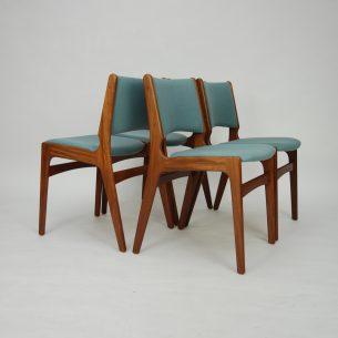 Modernistyczne, duński krzesła tekowe.  Projekt Henning Kjaernulf lat 60/70.