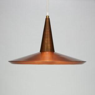 Lampa z patyną. Miedź i mosiądz. Efektowna forma lat 60-tych.