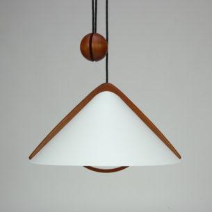 Lampa z regulacją wysokości. Lite drewno tekowe. Abażur z tworzywa sztucznego. Przewód w oplocie. Dwa punkty świetlne.