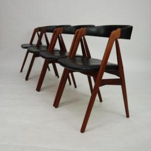 Komplet tekowych krzeseł. Wybitny projekt z lat 60-tych. Manufaktura Farstrup. Typowy modernizm. Oryginalny produkt duński. Rzadkość na rynku wtórnym (w tej ilości i takim stanie).