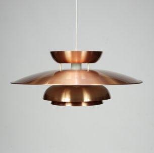 Efektowna, duńska lampa w kolorze miedzi. Projekt z lat 60/70-tych.