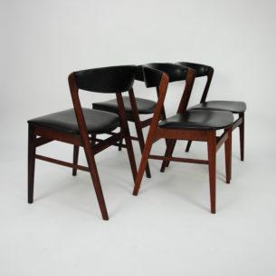 Set czterech krzeseł z wytwórni Sax. Krzesła z litego palisandru. Solidna konstrukcja. Tapicerka do wyboru.