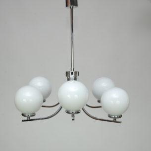 Piękna metalowa lampa z sześcioma kloszami. Metal chromowany.