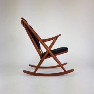 Fenomenalny fotel bujany z manufaktury Bramin. ProjektFrank Reenskaug. Lity tek, olejowany. Oryginalny, sygnowany produkt duński lat 60-tych.