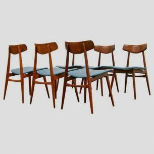 Set sześciu krzeseł z masywu teku. Sygnowana produkcja z lat 50/60. Manufaktura Habeo.